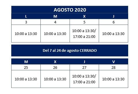 Nuevo horario agosto - Clínica dental en Sevilla